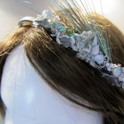 Silver turban flower mini silver and turquoise with feathers