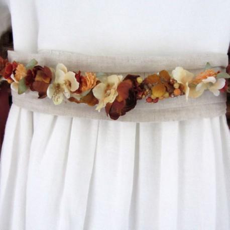 Cinturon popurri tonos tostado, beige y tabaco
