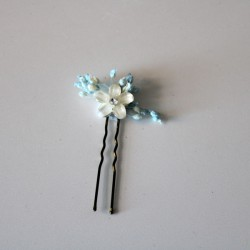Pack of 6 ivory, shiny and paniculata nacre flowers: blue