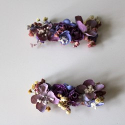 Two mallow flower clips for invited girl and wedding
