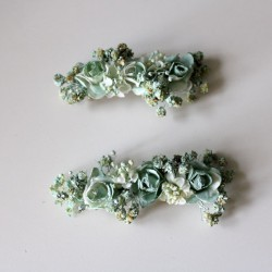 Two water green clips for invited girl and wedding