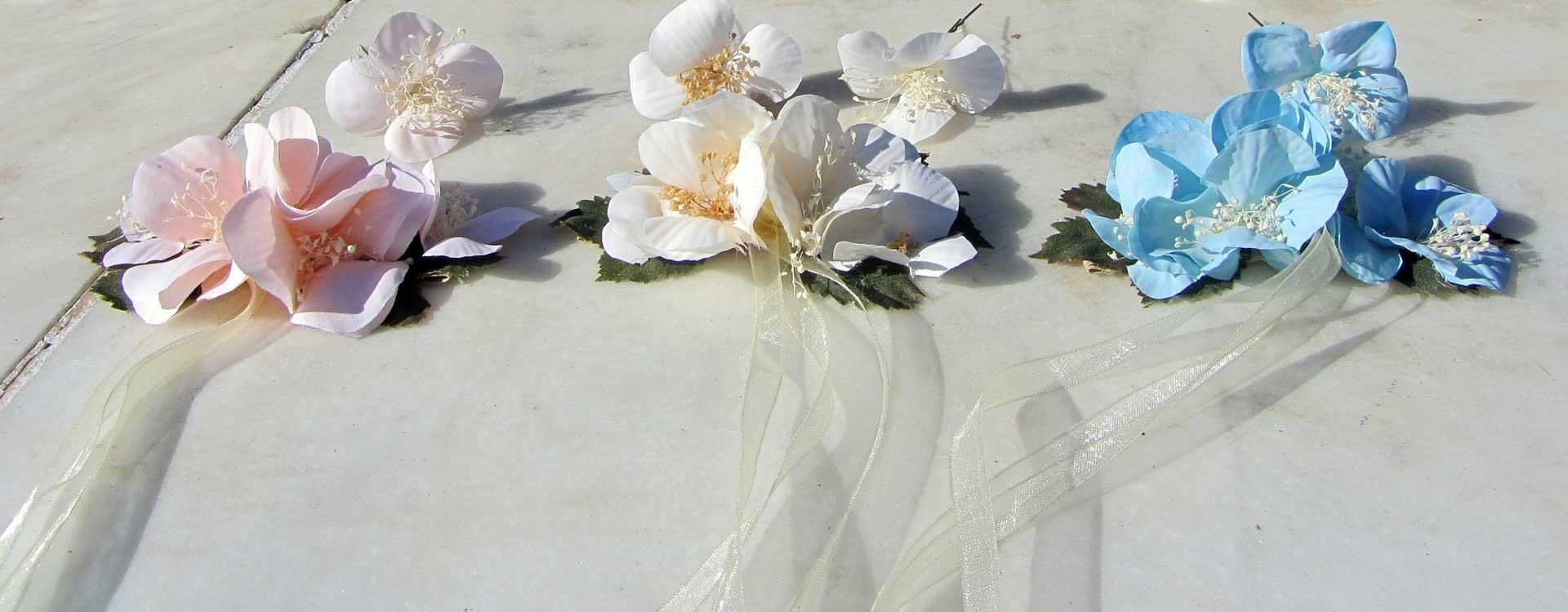 Pasadores y horquillas de flores para las niñas de arras